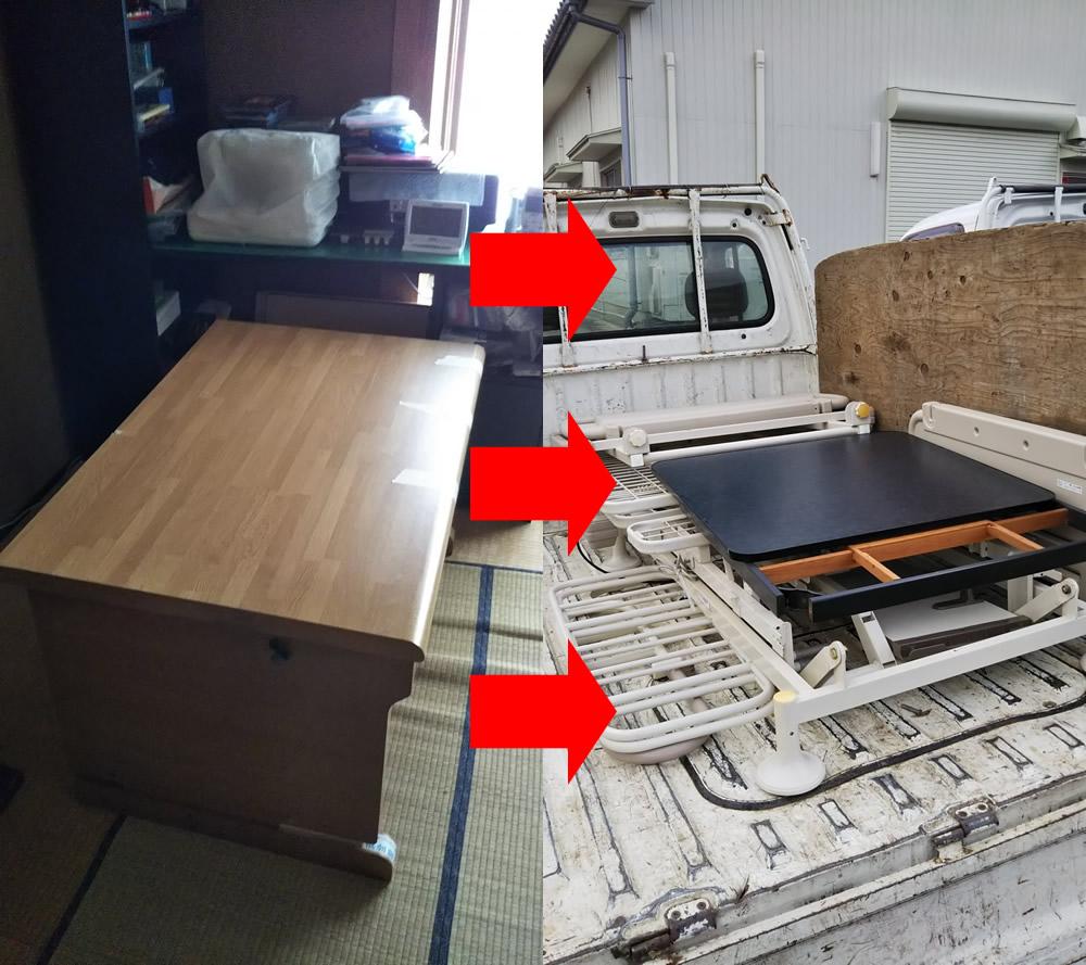 【松江市上乃木】電動ベッドやタンスなどの回収☆家具の処分でスッキリとお部屋が片付きご満足いただけました!