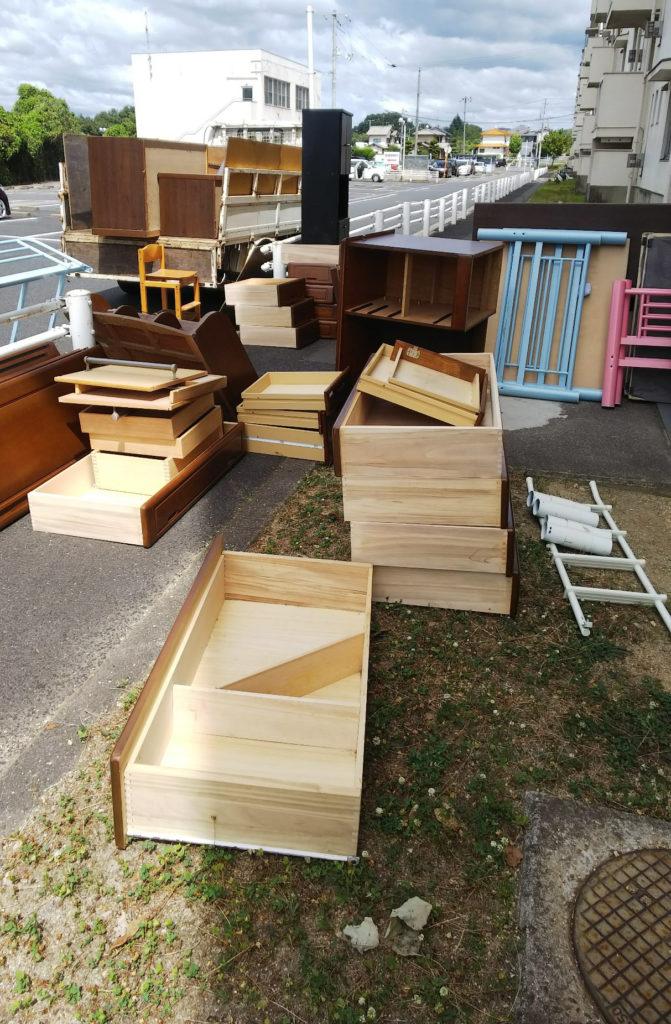 【福山市能島】2m超えの大きなタンスを含めた家財道具の回収!希望日の回収でお喜びいただけました。