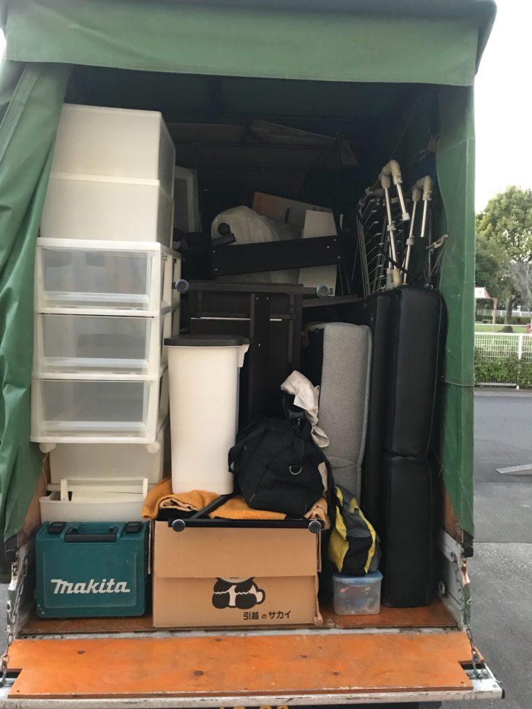 【宮崎市佐土原町】本棚、ソファーベッドなど軽トラック1台程度の不用品回収☆追加料金なしで対応することができご満足いただけました!