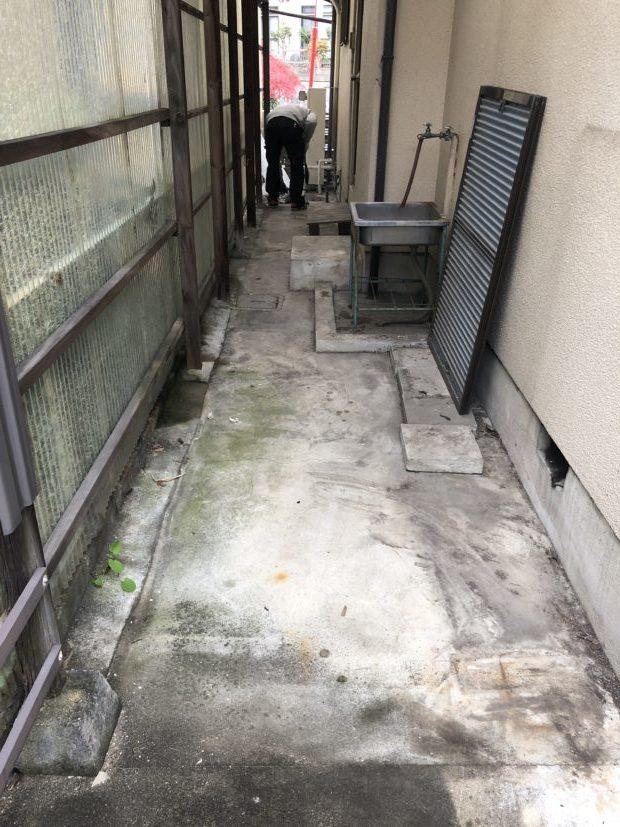 【大津市一里山】原付、タイヤ、布団など2トントラック1台程度の不用品回収☆台風で散らかってしまったお庭がきれいに片付きご満足いただけました!