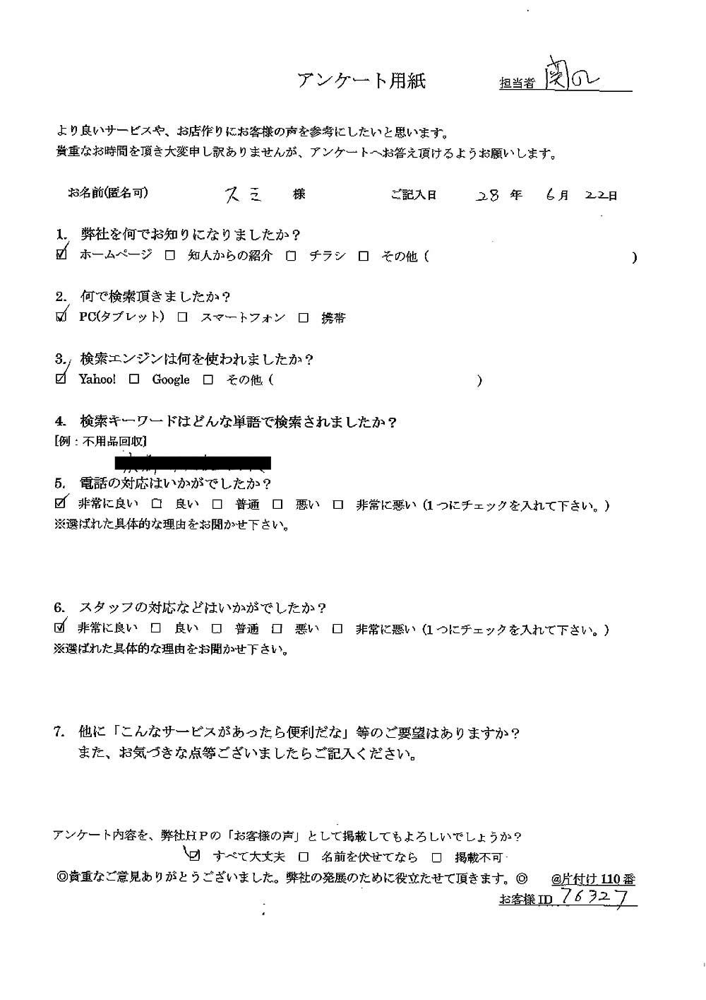 【京都市左京区】遺品整理に伴うお仏壇の回収のご依頼 お客様の声