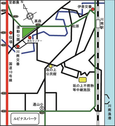 坂の上不燃物等中継施設の地図
