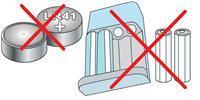 ボタン型電池(記号がSR・PR・LRから始まるもの)、充電式電池は対象外